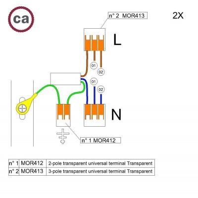 Kit de conexión WAGO compatible con cable 2x para Rosetón de 2 agujeros