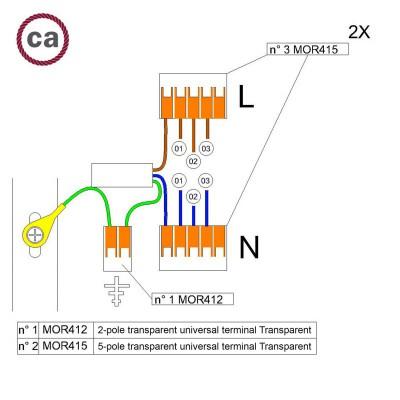 Kit de conexión WAGO compatible con cable 2x para Rosetón de 3 agujeros