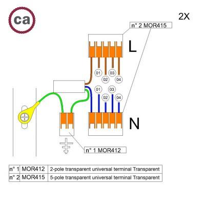 Kit de conexión WAGO compatible con cable 2x para Rosetón de 4 agujeros