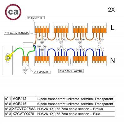 Kit de conexión WAGO compatible con cable 2x para Rosetón de 12 agujeros