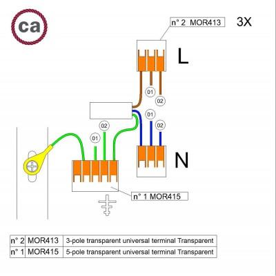 Kit de conexión WAGO compatible con cable 3x para Rosetón de 2 agujeros