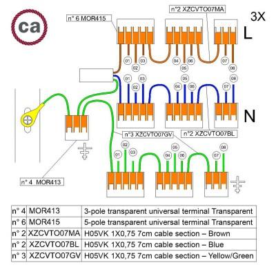 Kit de conexión WAGO compatible con cable 3x para Rosetón de 8 agujeros