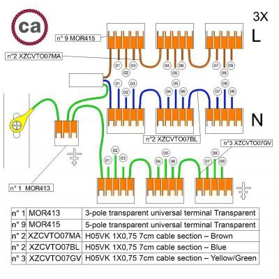 Kit de conexión WAGO compatible con cable 3x para Rosetón de 9 agujeros
