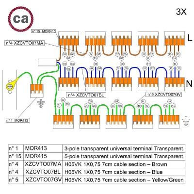 Kit de conexión WAGO compatible con cable 3x para Rosetón de 15 agujeros