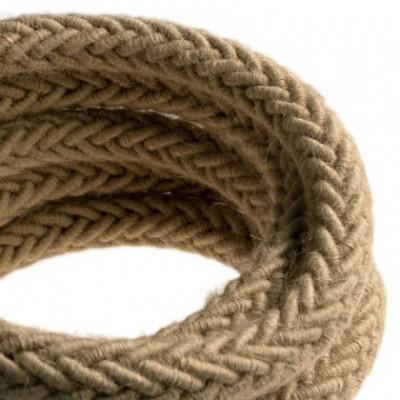 Cordón 2XL trenzado en Yute, cable eléctrico 2x0,75. Diámetro de 24 mm