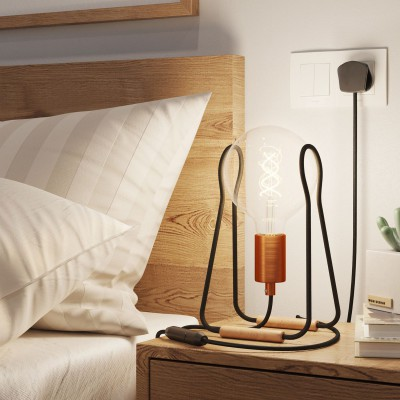 Taché Metal, table lamp complete with a fabric cable, switch and UK plug