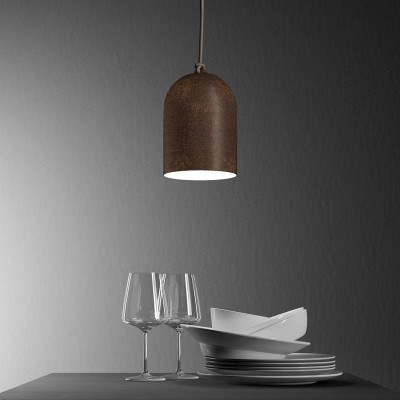 Lámpara colgante hecha en Italia con cable textil y pantalla Mini Campana XS de cerámica