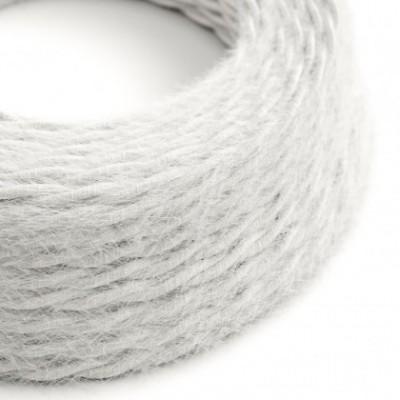 Cable eléctrico trenzado Marlene revestido en tejido efecto Furry Blanco TP01