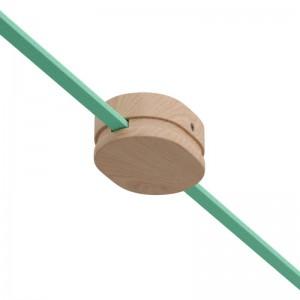 Rosetón ovalado de madera con 2 agujeros laterales por cable para guirnalda y sistema Filé. Hecho en Italia