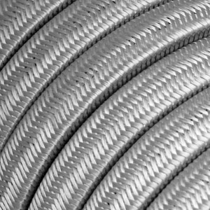 Electric cable for String Lights, covered by Rayon fabric Silver CM02