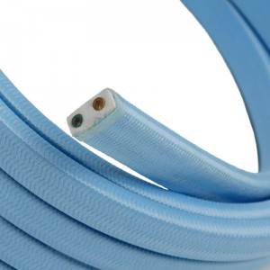 Electric cable for String Lights, covered by Rayon fabric Baby Azure CM17