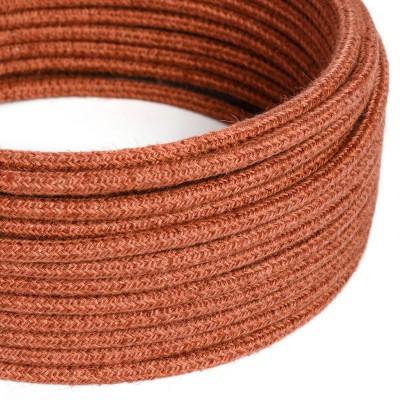 Cable Eléctrico Redondo Recubierto en Yute color Arcilla Naranja RN27